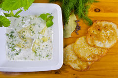 Polish dill soup. Traditionele Polish dill soup with fresh dill and potato Royalty Free Stock Photos
