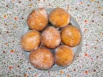 Polish Doughnuts - Polskie  Pączki. Homemade delicious sugar coated Polish Doughnuts - Polskie  Pączki Stock Photo