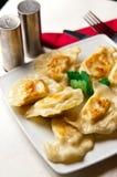 Polish dumplings. A plate of delicious Polish cuisine - dumplings (pierogi) with cheese, slightly fried stock photo