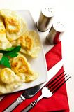 Polish dumplings on white plate. A plate of delicious Polish cuisine - dumplings pierogi with cheese, slightly fried royalty free stock images