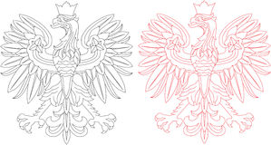 Polish eagle emblem. There are two outlines of Polish symbol - eagle. One is red and another is black stock illustration