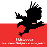 Polish eagle and polish flag in background. Concept of Polish in Stock Images