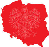 Polish eagle on Polish land. There are outlines of Polish symbol - eagle on Polish land background. Outline of land is red and eagle is white Royalty Free Stock Images