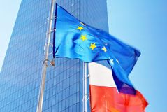 Polish and European union flags Royalty Free Stock Images
