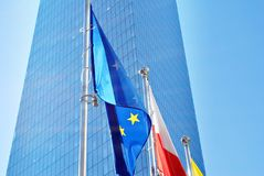 Polish and European union flags Stock Photo