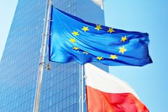 Polish and European union flags Stock Image