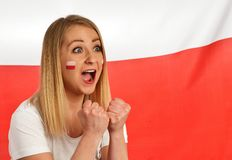 Polish fan cheers football team. Royalty Free Stock Photography