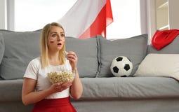 Polish fan cheers football team. Royalty Free Stock Photo