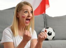 Polish fan cheers football team. Royalty Free Stock Image