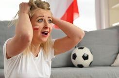 Polish fan cheers football team. Stock Photography