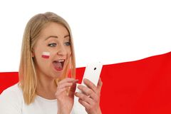 Polish fan cheers football team. Royalty Free Stock Images