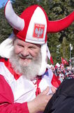 Polish fan with gray  mustache and beard Stock Images