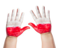 Polish fan with painted hands Royalty Free Stock Photo