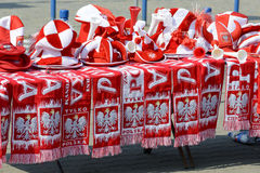 Polish fans accessories stands Royalty Free Stock Images
