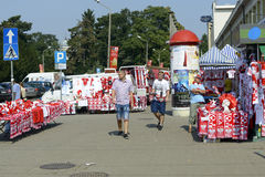Polish fans accessories stands Stock Photography