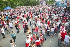 Polish fans in Warsaw Royalty Free Stock Photo