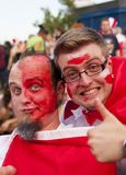 Polish fans at Warsaw streets Stock Images