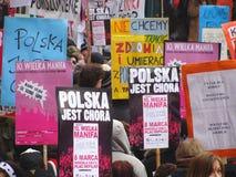 Polish feminist demonstration stock photo