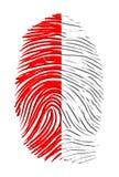 Polish fingerprint. Poland Flag red white finger print Stock Photos