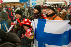 Polish and Finnish Ski Jumping Fan at Zakopane Stock Photo