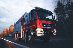 Free Polish Fire Brigade Truck On The Road In Evening Scenery Stock Photo - 214482320
