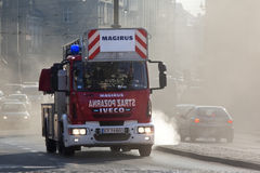 Polish Fire Service Emergency Vehicle - Krakow. A Polish Fire Service Magirus Turntable Ladder speeding to an emergency on the streets of Krakow in Poland Stock Photos
