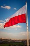 Polish flag. Against the sky stock photos