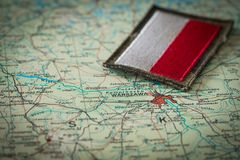View of the Polish flag on the background of the Poland map. Polish flag on the background of the Poland map royalty free stock photo