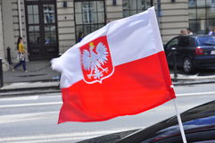Polish flag on the car Royalty Free Stock Photography