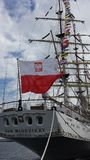 Polish flag on the Dar Mlodziezy sailing ship in Gdynia, Poland Stock Photo