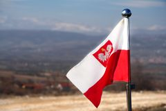 Polish flag with an eagle. Waving in the breeze against the background of mountains stock photo