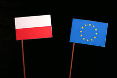 Polish flag with European Union EU flag  on black. Background Royalty Free Stock Image