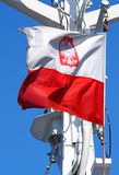 Polish flag flapping in the wind Royalty Free Stock Photo