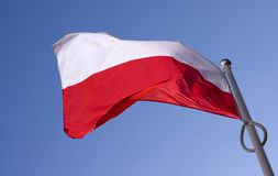 Polish flag flying on the wind. Against blue sky royalty free stock images