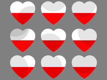 Polish flag in heart. Collection of hearts with the Polish flag. Vector Stock Photo
