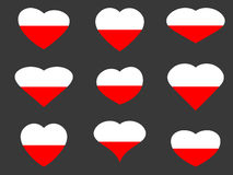 Polish flag in heart. Collection of hearts with the Polish flag. Vector Royalty Free Stock Images