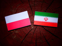 Polish flag with Iranian flag on a tree stump isolated Stock Photo