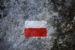 Polish flag in mountains royalty free stock photography