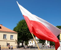 Polish flag. Polish national flag at the town square in Lowicz royalty free stock photos