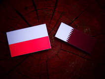 Polish flag with Qatari flag on a tree stump isolated Royalty Free Stock Photo