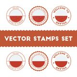 Polish flag rubber stamps set. National flags grunge stamps. Country round badges collection Royalty Free Stock Images