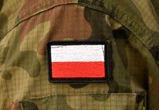 Polish flag on soldier arm. Poland military uniform. Poland troo. Ps stock photos