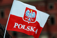 Polish flag. On the stick stock images