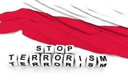 Polish flag and text stop terrorism. Royalty Free Stock Photography