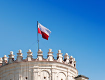 Polish flag. On the tower royalty free stock images