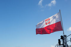 The Polish flag. View of the The Polish flag / background stock photography