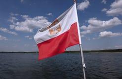 Polish flag waving. On the wind stock image