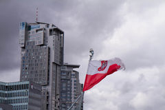 Polish flag. Waving at the harbour in Gdynia, Poland royalty free stock image