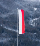 Polish flag waving on wind against mountain covered by snow Stock Images