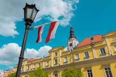 Polish flags during the feast of the Third May in Swidnica. Visi Stock Photos